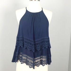 High neck navy blue crochet details top small